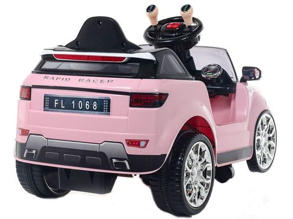 Kids ride on PINK jeep Evoque style SUV | 6v battery powered sit and ride-in toy car